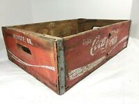 Vintage Coca-Cola Wooden Red Soda Pop Crate Carrier Box case wood ARDMORE OK,
