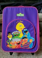 VTG 90s Sesame Street Characters Kids Rolling Hand Carry Luggage Travel Case Bag