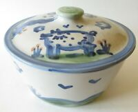 M A Hadley Country Scene Blue Pig Cow Covered Casserole Holds 2 Qts 8