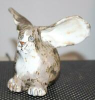 Art Pottery Primitive Folk Art Rabbit Large Ears Scared Expression Signed Dated