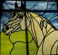 stained glass horse window panel