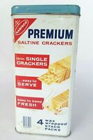 1969 Nabisco Tin Premium Saltine Crackers 14 Oz Vintage Tin With Blue Lid