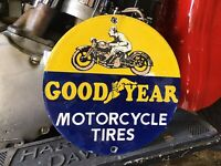 VINTAGE PORCELAIN GOODYEAR MOTORCYCLE TIRES Harley Indian Triumph BSA Excelsior