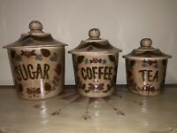 Cleminson California Pottery Distlefink Brown Canisters