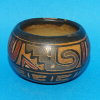 Vintage Southwestern Pottery Polychrome Small Clay Pot 2 Inches Tall