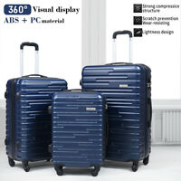 3 Piece Luggage Set Trolley Travel Suitcase ABS+PC Hardside Nested Spinner Blue