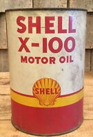 Vintage 5 Qt SHELL X-100 Motor Oil Tin Can Gas Service Station Sign