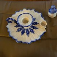 Victoria Style  Ironstone Staffordshire England Candle Holder Blue White 7""