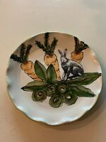"9"" Art Pottery Plate Carrots And Rabbit By E. Lamb"