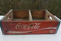 Vintage Coca-Cola Wooden Red Soda Pop Crate Carrier Box case wood COKE 32
