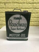 Vintage Roadway 2 Gallon Oil Can Super Refined Motor Oil Advertising Gas Oil Can