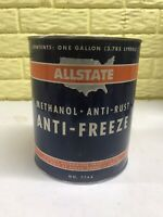 Vintage Allstate 1 gallon Methanol anti freeze can Advertising Gas Oil Sears