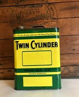 Vintage 2 Gallon John Deere Twin Cylinder Oil Can Co. Gas Tin Empty RARE