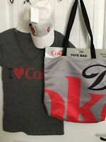 Lot of 3  I Love DIET COKE Tunic T Shirt Cap Hat Tote Bag collectible Target NEW