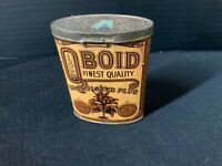 Qboid oval tobacco vertical pocket tin embossed cover hinged rare