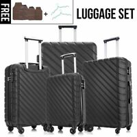 4Pcs Travel Luggage Set Hardside Spinner Suitcase ABS Trolley Lightweight wLock