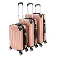 ​3PCS Luggage Set Travel Bag Trolley Spinner Carry On Rolling Suitcase Rose Gold