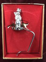 Reed & Barton Silver Plated Snowman Christmas Stocking Holder Hanger in Box