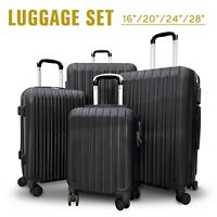 4Pcs Travel Luggage Set Bag ABS Trolley Spinner Suitcase wLock 16-28 inch Black