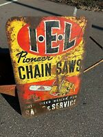 IEL Pioneer Chain Saw Outboard Vintage Metal Gas oil Sign GR8 Decor
