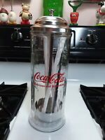 Vintage Coca Cola Straw Dispenser Holder Glass amp; Chrome Diner Style Coke 1992