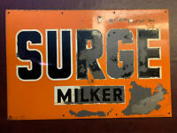 VTG ORIGINAL SURGE MILKER METAL TIN SIGN FARM REAL OLD A.M.D AUTHENTIC AS IS