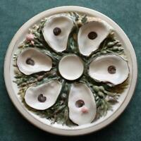 Antique Round Union Porcelain Works (UPW) Oyster Plate, Sage Seaweed