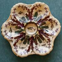 Antique Plum and Green Oyster Plate with Hand Painted, Swimming Fish in Wells