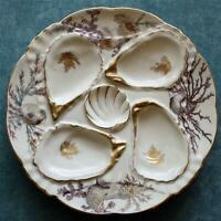 Antique Weimar Oyster Plate, Exquisite Sea Life Decoration, Germany