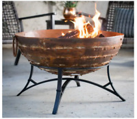Outdoor Wood Burning Fire Pit Patio Iron Round Bowl Camping Grate Yard Portable