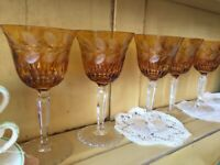 8 Heavy Antique Bohemian Wine Glasses GOLD Honey AMBER Cut 2 Clear Cased Crystal