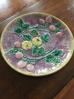 majolica plate, Basketweave , Lavender Pink And Green,  Etruscan