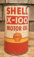 Vintage 1 Qt SHELL X-100 Motor Oil Tin Can Gas Service Station W Shell Graphic