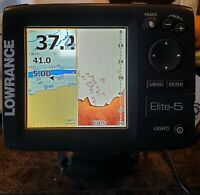 Lowrance Elite-5 with mounting bracket and power/data cable.