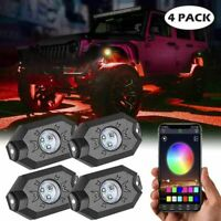4 Pod RGB LED Rock Lights Lamp Off-road Music Wireless Bluetooth Control ATV