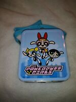 "Powerpuff Girls Blue Mini Lunch Box Metal Purse Vintage 4.75"" x 5.65"" Never Used"