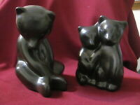 VINTAGE POTTERY FIGURINES PIGEON FORGE BEAR SEATED WITH CUBS SIGNED D FERGUSON