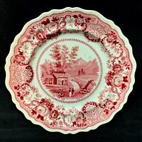 STAFFORDSHIRE AMERICAN HISTORICAL RED TRANSFERWARE PLATE 1835