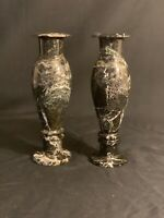 Two Beautiful Black Zebra Handcrafted Onyx Stone Marble Flower Vases