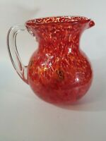 Murano Style Italy Blown Glass  Red Millefiori Cane Water Beverage Pitcher Jug