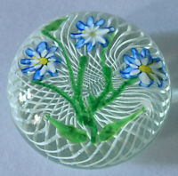 Large Antique New England Glass Company Floral Paperweight Latticino Swirl