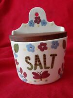 Vintage California Cleminsons Wall Hanging Salt Box Hand Painted pre owned