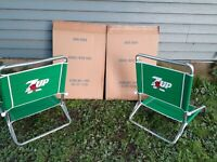 Set of 2 Vintage 7up Red Spot Aluminum Lawn or Beach Chairs 7 Up LOOK NEW!!