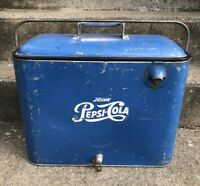 Vintage Blue Pepsi 12 Pack Soda Pop Metal Cooler 1960's Picnic