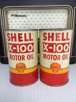Shell X100 Motor Oil Cans Imperial Quart Lot 2pc Collectible Rare Vintage