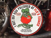 VINTAGE PORCELAIN 1963 FLO'S TEXACO ROUTE 66 RAT FINK SIGN Harley Ford Chevy