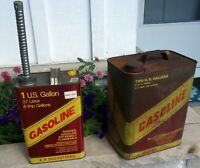 PAIR Vintage 1 and 2  Gallon METAL Vented  Gas Cans USA