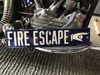 RARE VINTAGE PORCELAIN FIRE ESCAPE FINGER POINTING SIGN PHELPS BROS NYC Chicago