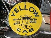 RARE VINTAGE PORCELAIN YELLOW CAB TAXI STAND SIGN NYC Chicago LA San Francisco