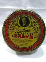 Vintage Rawleigh#x27;s Antiseptic Salve Advertising Tin 5 oz can quot;For Man amp; Beastquot;